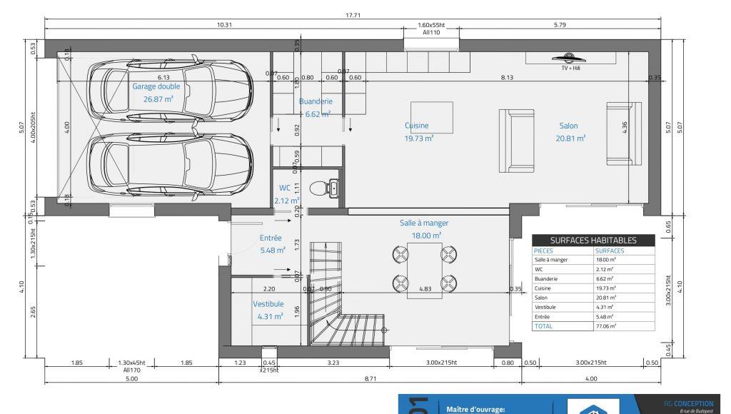 [VERSION 7] Plans Avant Projet définitif - Projet de maison individuelle - plan du rez de chausse - suite parentale - cuisine ouverte sur sejour - vestibule