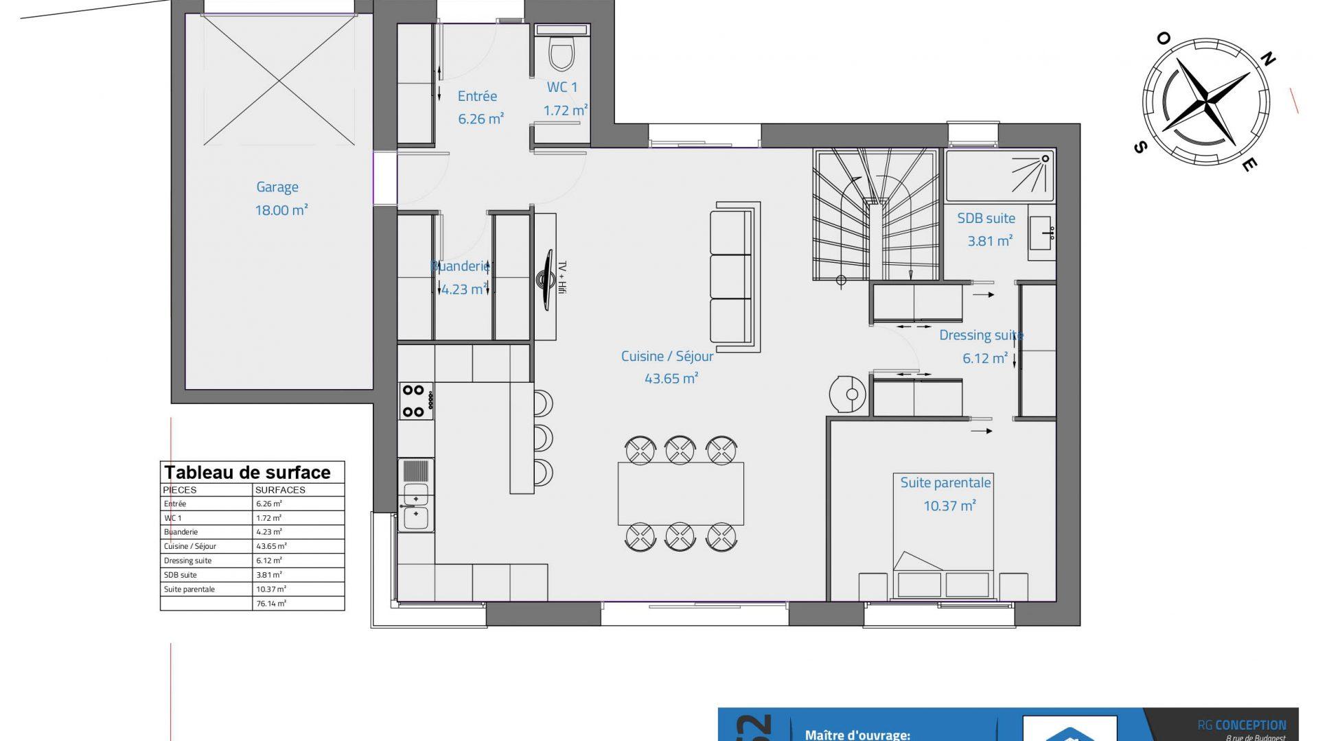 [Version 3] - Projet maison de 150m² - plan du rez de chaussee - garage - cuisine ouverte sur sejour